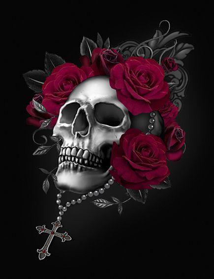 Skull And Roses In 2019 Skull Wallpaper Skull Rose
