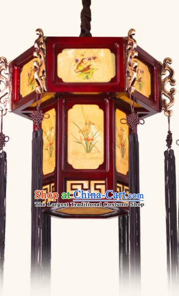 Chinese Traditional Wood Hanging Lantern Handmade New Year Ink Painting Palace Lanterns Ceiling Lamp Hanging Lanterns Ceiling Lamp Chinese Lamps