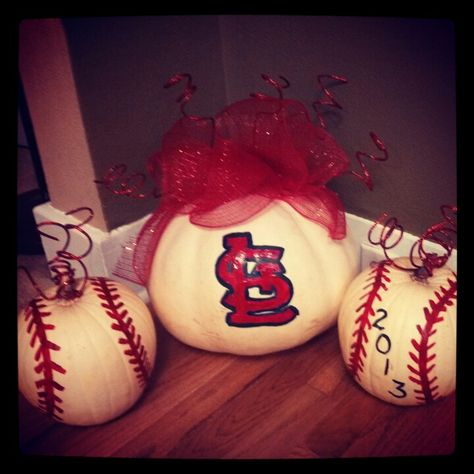 Paint pumpkins to look like baseballs (or to show off your favorite team)!