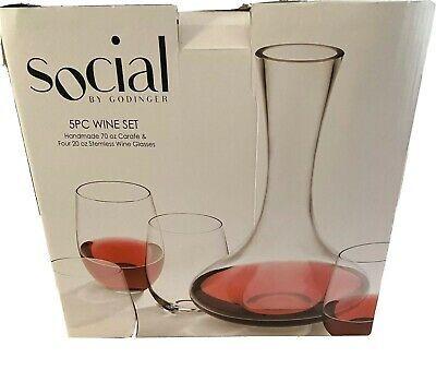 Godinger Social 5 Piece Wine Carafe Glass Set For All Occasions In 2020 Wine Carafe Glass Set Wine Set