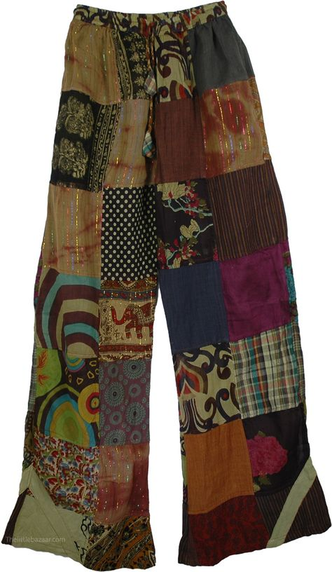 Patchwork Gypsy Trouser, ordered these also. Hippie Style Clothing, Hippie Outfits, Gypsy Style, Chic Outfits, Fashion Outfits, My Style, Gypsy Clothing, Steampunk Clothing, Gypsy Pants
