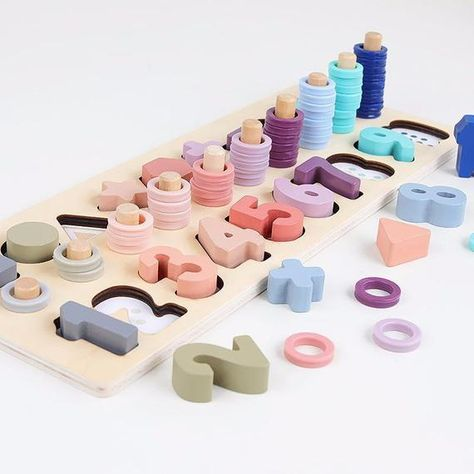 Wooden Educational Toys, Educational Toys For Toddlers, Wooden Toys For Toddlers, Educational Games, Diy Sensory Board, Baby Sensory, Kids Blocks, Math Blocks, Early Education