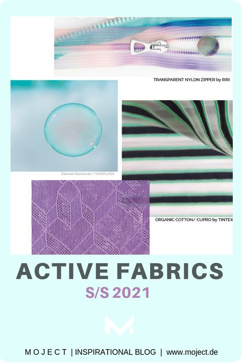 Transparent structures & trimsby Riri, Taubert & Tintex at Perfomance Days May 2019, trends depending on the fashionable and aesthetic appearance of the fabrics.The functional fabrics S/S 2021 show a big diversity: moisture management, odour control, quick-drying, thermo regulation, UV protection, sustainable production or biodegradability. #functionalfabrics #fabrictrends #performancewear #ss2021 #activewear #athleisure #ss2021 #sportswear #fashion #sustainablefabrics #moodboard