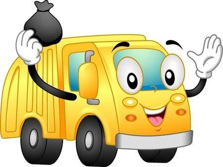 Ilustracion Mascota Con Un Camion De Basura Camion De Basura Dibujos Para Cartas Caricaturas Para Pintar