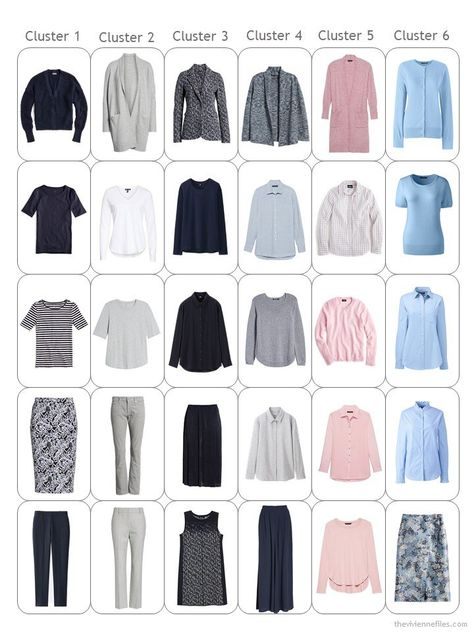 9. 30-piece capsule wardrobe in navy, grey, pink and blue