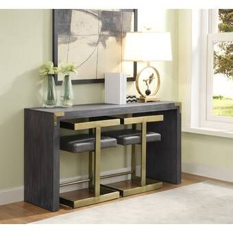 Foundry Select Susan Console Table And Stool Set Wayfair Contemporary Console Table Gray Console Table Contemporary Console