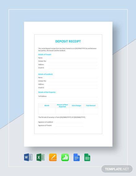 Deposit Receipt Template Word Doc Excel Apple Mac Pages Google Docs Google Sheets Apple Mac Numbers Receipt Template Google Sheets Templates