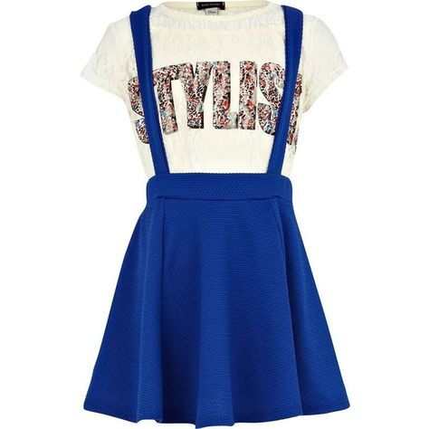 e0332230b6c8a River Island Girls blue dungaree skater skirt and lace top (18 BGN) ❤ liked  on Polyvore featuring dresses