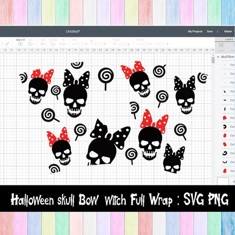 Full Wrap Starbucks Halloween Skull Bow Cold Cup SVG | DYI Venti Cup Instant Download ,SVG Files for Cricut & other e-cutters