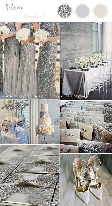 silver neutral winter wedding colors with matching invitations wedding decorations 6 Stunning Metallic Wedding Color Palettes with Matching Invitations