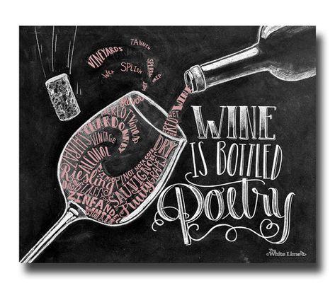 Wine Art Chalkboard Art Wine Lover Wine Artwork by TheWhiteLime, $17.00