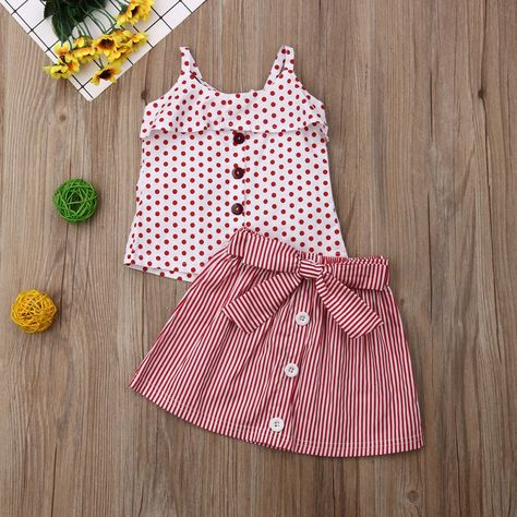 Red Polka Dot Button Top W/ Striped Bowknot Skirt : Department Name: ChildrenItem Type: SetsMaterial: CottonGender: GirlsCollar: O-NeckFit: Fits true to size, take your normal size