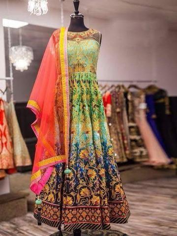 Digital Print Multi Color Bollywood Designer Dresses ,Indian Dresses - 1