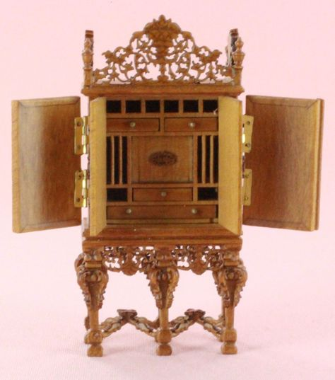 NIB Hutch Cupboard 1:12 Scale Dollhouse Miniature Carved Walnut Vintage