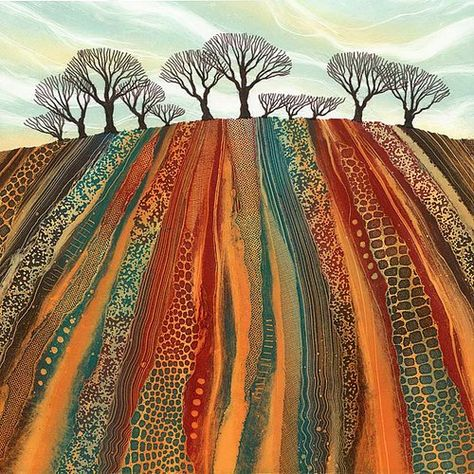 Giclee prints by Northumberland artist Rebecca Vincent. Inspirational for a landscape quilt. Landscape Art Quilts, Landscape Paintings, Landscapes, Art Textile, Arte Popular, Art Abstrait, Aboriginal Art, Tree Art, Fabric Art