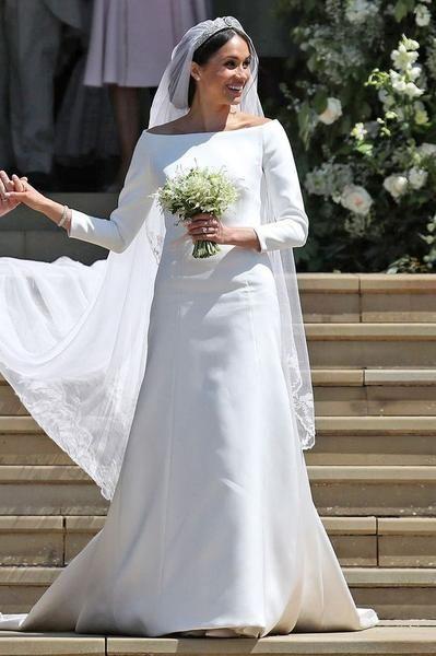 Who Designed Megan S Wedding Dress.Meghan Markle Wedding Dress With 3 4 Sleeves White Dresses