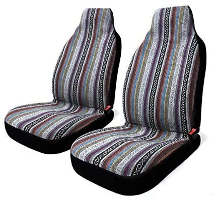 Amazon Com 2 Pc Universal Baja Inca Saddle Mexican Blanket Front Seat Covers Pair High Back Bucket Seat Seat Belt Pads Bucket Seat Covers Best Car Seat Covers