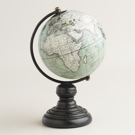 With a soft gray finish and black-stained wood base, our miniature decor piece is a stylish update to the typical classroom globe. Aged for a vintage look, it makes a great addition to the office or an elevated gift for the traveler.