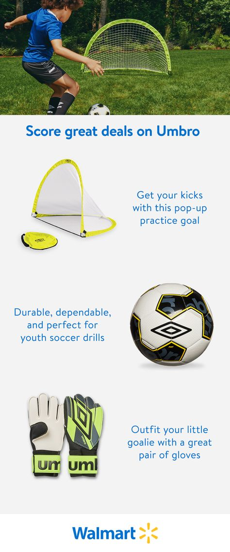 Find great deals on individual items or bundled sets from Umbro—now available at Walmart. Your youth soccer star will be able to drill away at home with a durable soccer ball and pop-up practice goal from one of the longest-running brands in the game.