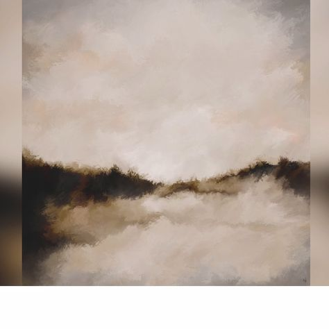 Calm soothing abstract landscape, digital art painting on aluminium