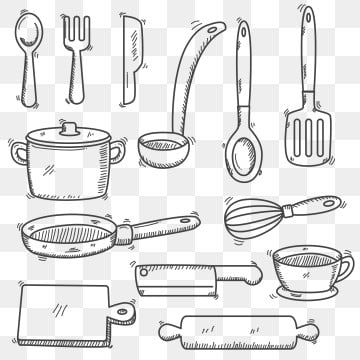 Set Of Utensils And Cooking Equipment In Doodle Hand Drawn Style Cooking Utensils Food Png And Vector With Transparent Background For Free Download En 2020 Recetarios De Cocina Diseno Disenos De