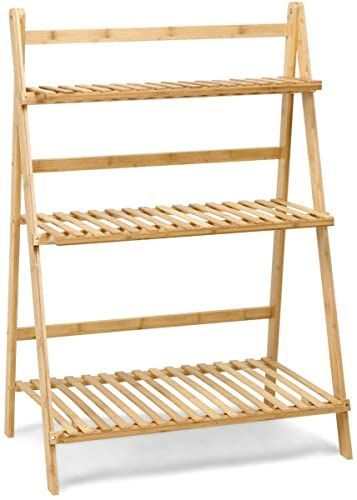 Buy Cypressshop Foldable Bamboo Shelf Stand Flower Pot Plant Display Shelving Unit Portable Wood Ladder Racks Bo In 2020 Bamboo Shelf Home Furniture Online Wood Ladder