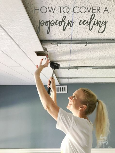 How to Cover a Popcorn Ceiling Using Beautiful Armstrong WoodHaven Planks covering popcorn ceiling plank ceiling wood ceiling Shiplap Ceiling, Wood Ceilings, Wood Plank Ceiling, Drop Ceiling Basement, Drop Ceiling Tiles, Ceiling Panels, Wood On Ceiling Ideas, Living Room Ceiling Ideas, Cheap Ceiling Ideas