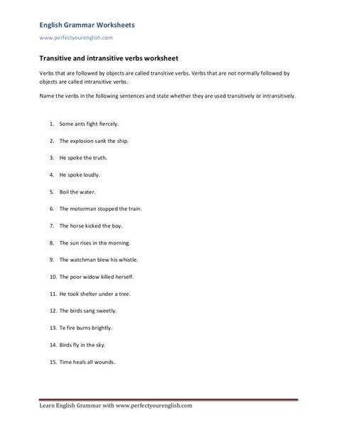Image Result For Transitive And Intransitive Verbs Worksheets