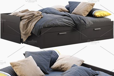 Ikea Brimnes unfolded bed 3d model