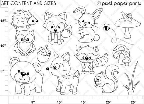 Woodland Animals Digital Stamps Clipart Etsy Digital Stamps Animal Coloring Pages Coloring Pages