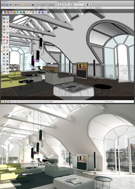 Sketchup = Free 3D imaging software from Google!          Maxwell = Amazing Render suite that makes 3d models look real (but costs $).   Sketchup + Maxwell Plugin = Free amazingness :D