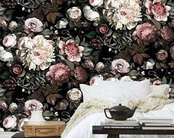 Dark Floral Removable Wallpaper Oil Dutch Dark Victorian Flower Wall Mural Peel Stick Sel Wallpaper Living Room Pink Floral Wallpaper Black Flowers Wallpaper
