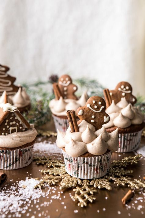 Gingerbread Cupcakes with Cinnamon Browned Butter Buttercream. - Half Baked Harvest - Gingerbread Cupcakes with Cinnamon Browned Butter Buttercream - Gingerbread Cupcakes, Christmas Cupcakes, Christmas Sweets, Christmas Cooking, Noel Christmas, Christmas Gingerbread, Christmas Parties, Christmas Wreaths For Windows, Winter Cupcakes