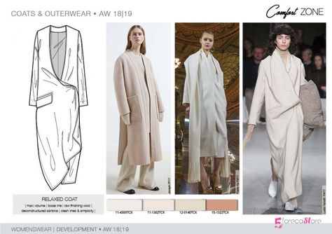 FW – Development – COATS & OUTERWEAR Womenswear FW Trend forecast: RELAXED COAT, maxi volume, loose line, deconstructed sartorial, development designs by Fashion trend forecasting.