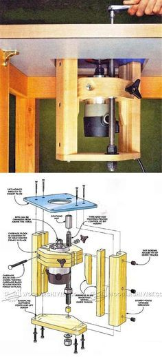Router jig router lift woodsmith plans tools pinterest router table lift plans greentooth Image collections