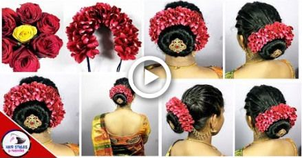 South Indian Wedding Guest Hairstyles Kerala Hairstyle With Flowers Hairstyles And Wedding Guest Hairstyles Hairstyles Kerala Flowers In Hair
