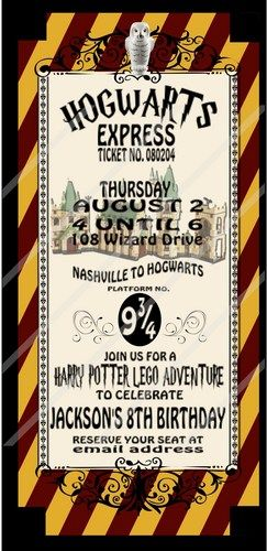List Of Pinterest Garry Potter Party Invitations Ticket Hogwarts