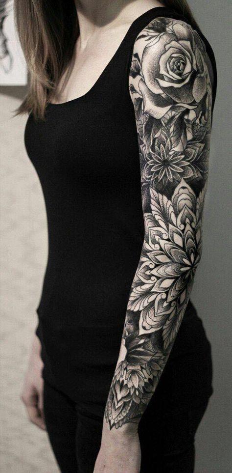 Stunning Sleeve Tattoos For Women # Tattoo Designs Tattoo Sleeve Filler, Full Sleeve Tattoo Design, Design Tattoo, Best Sleeve Tattoos, Tattoo Designs, Flower Sleeve Tattoos, Arm Sleeve Tattoos For Women, Mandala Tattoo Sleeve Women, Unique Half Sleeve Tattoos