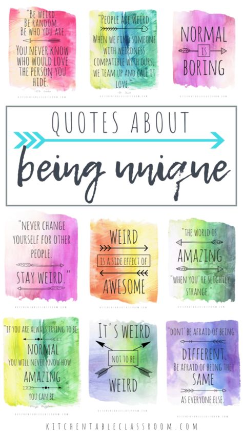 Let these quotes about being different inspire you to be you and live your most unique life. Free printable watercolor quotes about being unique.