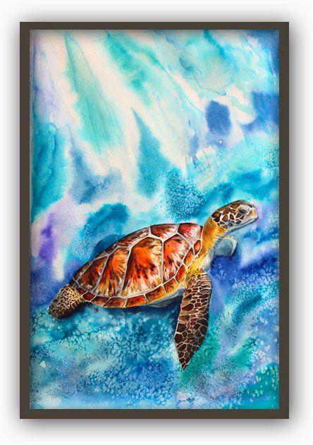 Turtle Watercolour Painting Print Turtle Bathroom Decor Sea Animals Wall Art Print Turtle Marine Poster Turtle Wall Art Sea Turtle Wall Art Turtle Watercolor