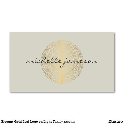 Logo Elegant De Feuille Dor Sur Tan Leger Carte Visite Standard