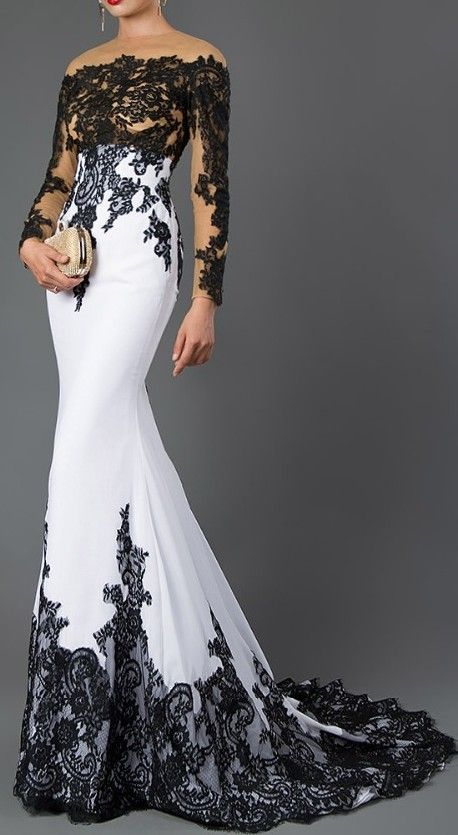 Black White Lace Gown In 2020 Dinner Dress Classy Dinner Gowns Evening Gowns Elegant