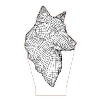 Wild Wolf Head 3d Illusion Lamp Plan Vector File For Laser And Cnc 3bee Studio Illusions 3d Illusion Lamp 3d Illusions