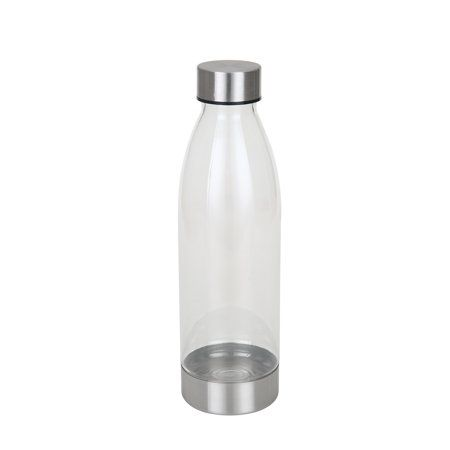 Mainstays 22 Ounce Water Bottle With Stainless Steel Lid And Base Clear Walmart Com Clear Water Bottle Bottle Water Bottle