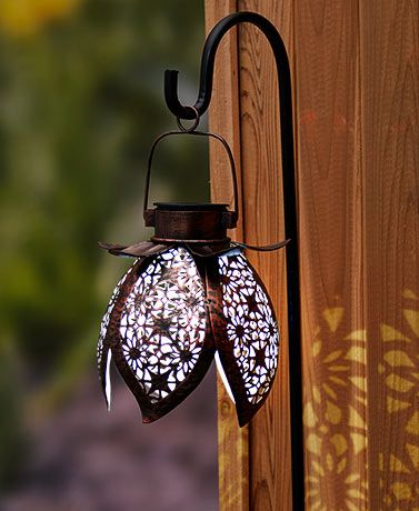Solar Pierced Metal Flower Lantern With Stake Metal Flowers Solar Lights Garden Solar Flower