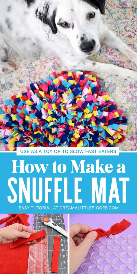 Does your dog eat too fast? It's something that can be really bad for your pet's health but luckily we can slow them down with this DIY snuffle mat! And they have so much fun sniffin their food out! dog How to Make a Snuffle Mat Homemade Dog Toys, Diy Dog Toys, Pet Toys, Cute Dog Toys, Dog Health Tips, Pet Health, Dog Enrichment, Dog Crafts, Dog Eating