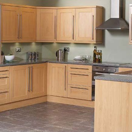 Grey Work Tops Shaker Beech Google Search Beech Kitchen Beech Kitchen Cabinets Custom Kitchen Cabinets