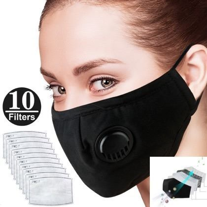Anti-Dust Mouth Cover Face Mask  Air Filter Mask Replacement  with 10 Filters