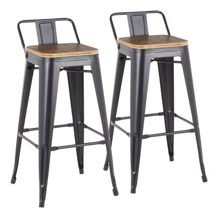 Superb Oregon Industrial Low Back Barstool In Black Metal And Wood Machost Co Dining Chair Design Ideas Machostcouk