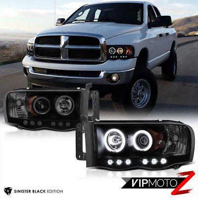 2002-2005 Dodge Ram 1500 Pickup Headlights+LED Halo Projector Fog Lights Lamps